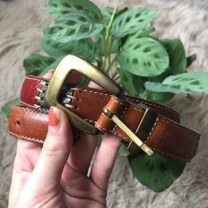 Fossil Colorblock Tan Leather Belt